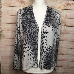 August Silk Knit gray and black cheetah sweater XL